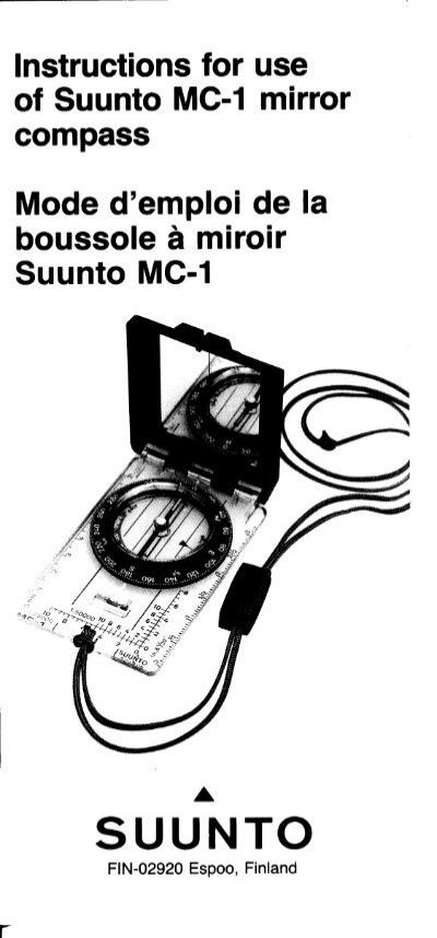 Instructions for use of Suunto MC-1 mirror compass