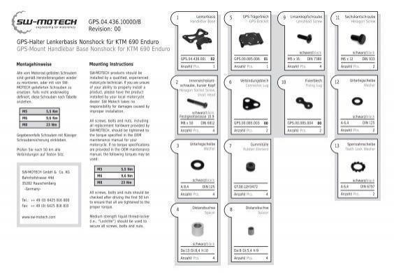 GPS-Halter Lenkerbasis Nonshock für KTM 690 Enduro