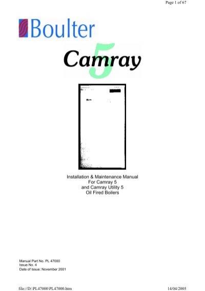Installation & Maintenance Manual For Camray 5 and Camray