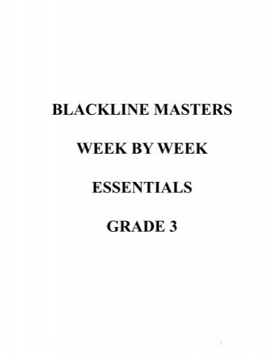 Blackline Masters Week By Week Essentials Grade 3