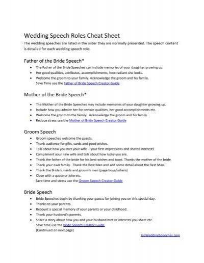 wedding speech roles cheat