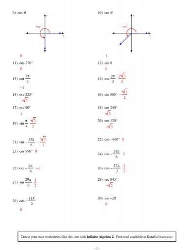 9) cos θ 0 11) cos 270°