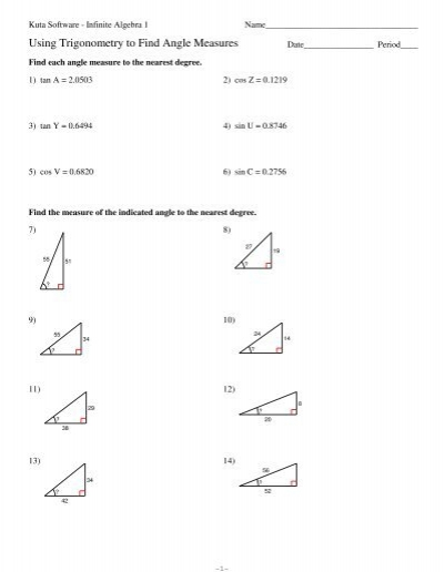Trigonometry To Find Angle Measures
