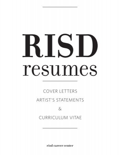 cover letters artist's statements & curriculum vitae