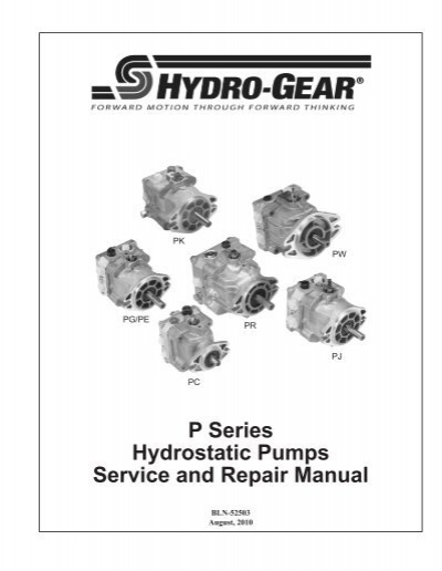 P Series Hydrostatic Pumps Service and Repair Manual