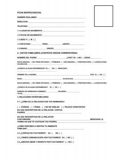 Ficha Biopsicosocial  preparatoria oficial no 28