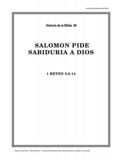 89. salomon pide sabiduria a dios