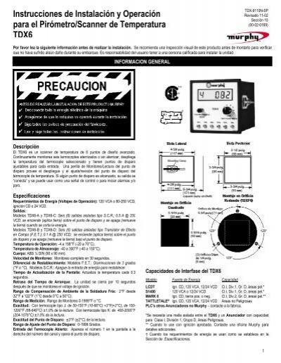 Instrucciones de Instalación y Operación para el Pirómetro