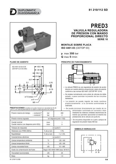 valvula reguladora de presion con mando proporcional