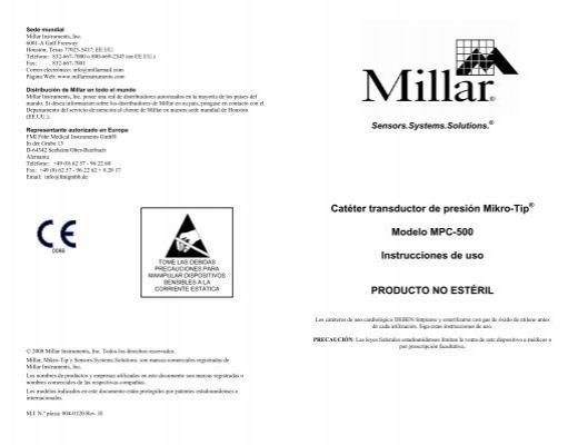 Catéter transductor de presión Mikro-Tip Modelo MPC-500
