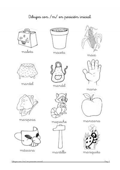 Dibujos con /m/ en posición inicial. maleta maceta maiz