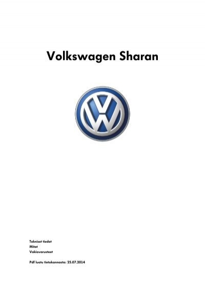 Volkswagen Sharan tekniset tiedot, mitat ja varusteet
