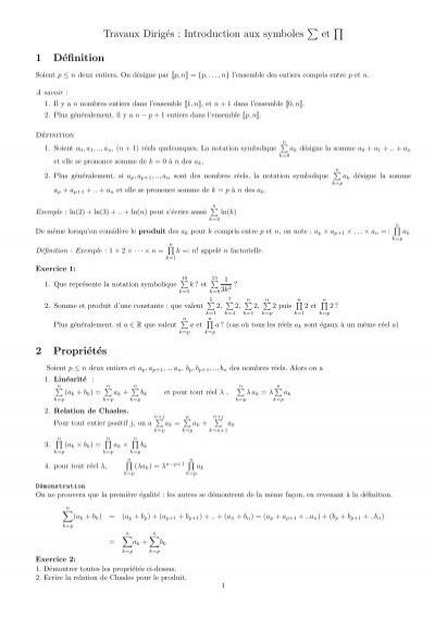 Travaux Dirigs  Introduction aux symboles  et  1 Dfinition 2