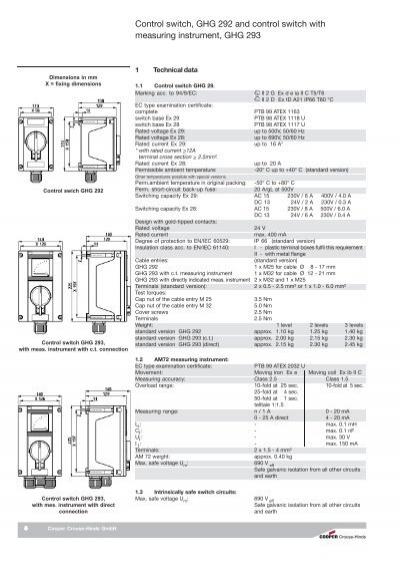 Control switch, GHG 292 a