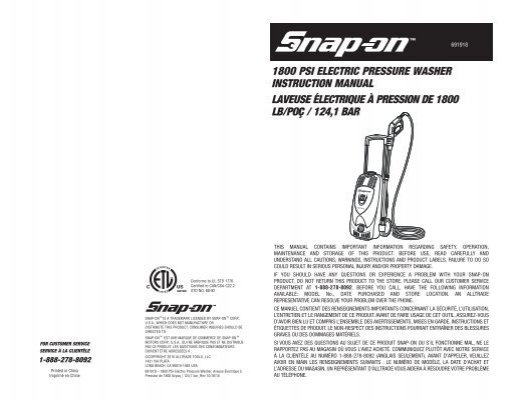 1800 psi electric pressure washer instruction manual