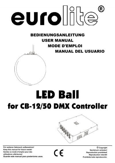 EUROLITE LED Ball for CB-12/50 Controller user manual