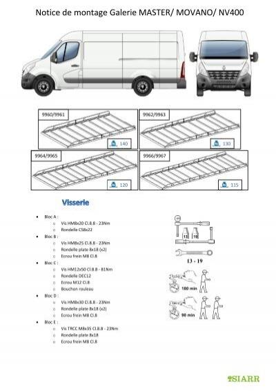 Notice de montage Galerie MASTER/ MOVANO/ NV400