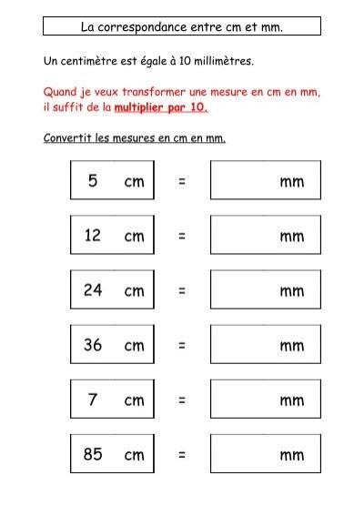 la correspondance entre cm et mm