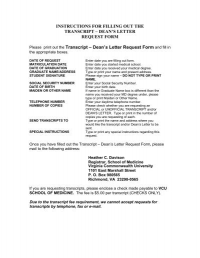 Transcript Request Form - Virginia Commonwealth University ...