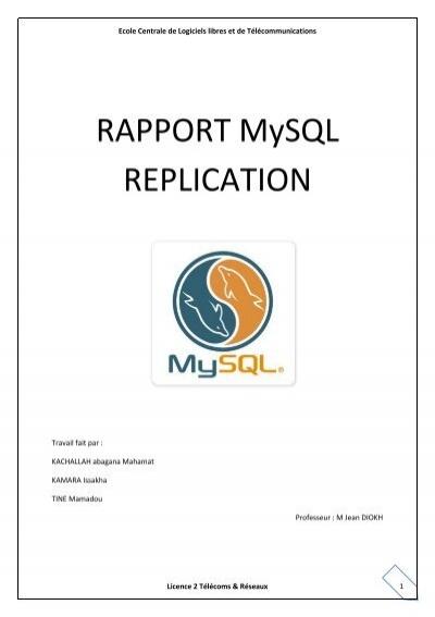 RAPPORT MYSQL-replication