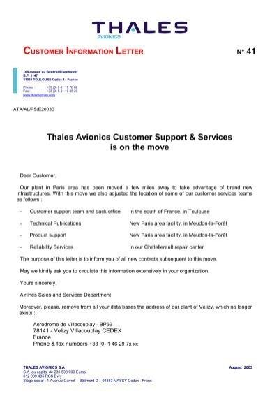 Modle lettre THALES AVIONICS  Customer Online