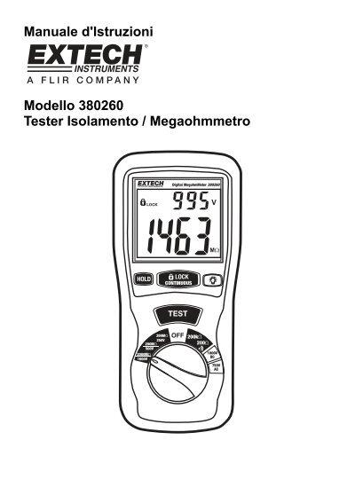 Manuale d'Istruzioni Modello 380260 Tester Isolamento