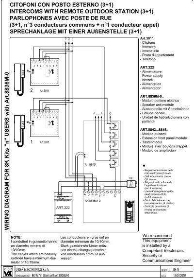 intercom wiring diagram home circuit diagrams citofoni con posto esterno (3+1 ... - gate motors