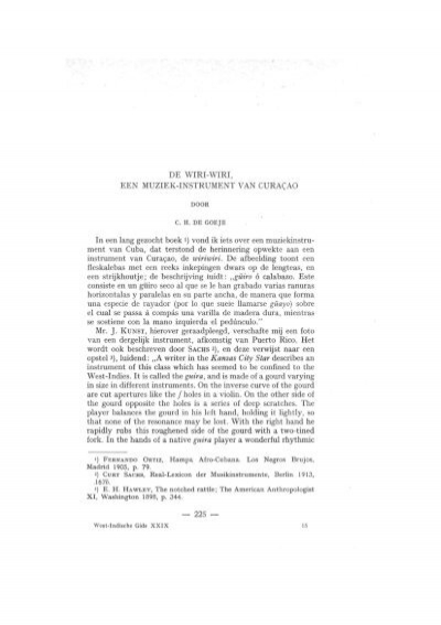 DE WIRI-WIRI, EEN MUZIEK-INSTRUMENT VAN CURACAO In een