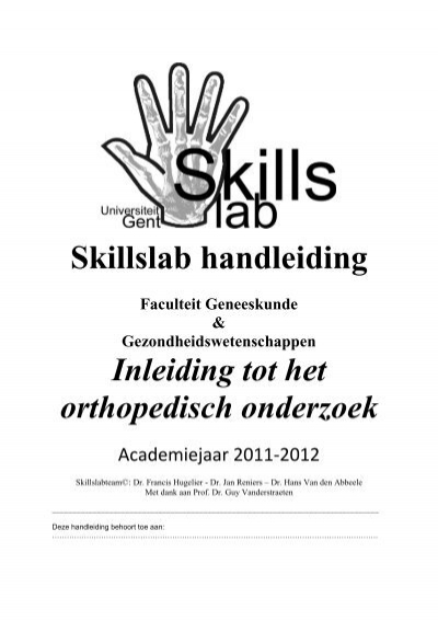 Skillslab handleiding Faculteit Geneeskunde