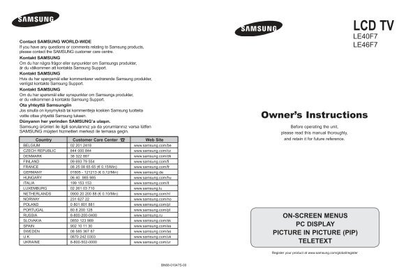 Samsung LE40F71 User manual