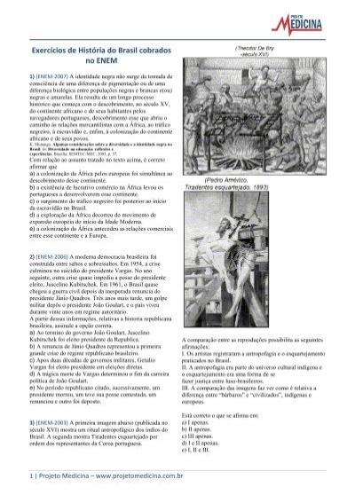 Exercícios de História do Brasil cobrados no ENEM