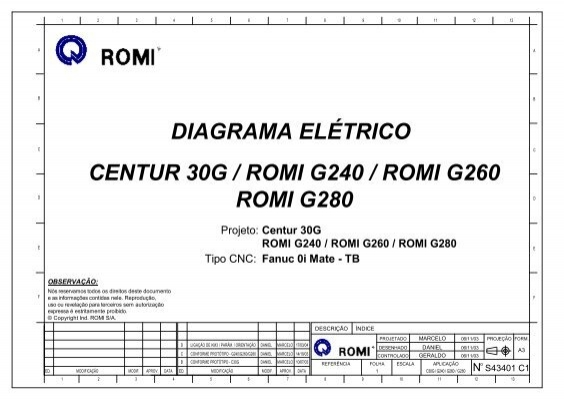 TB CENTUR 30G / ROMI G240 / ROMI G260 ROMI G280 Centur