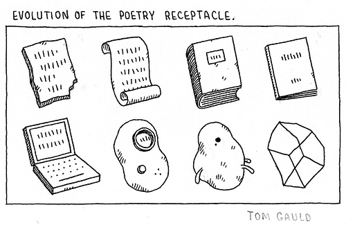 """""""a pair of ragged spuds, on buttered peas"""" Tom Gauld"""