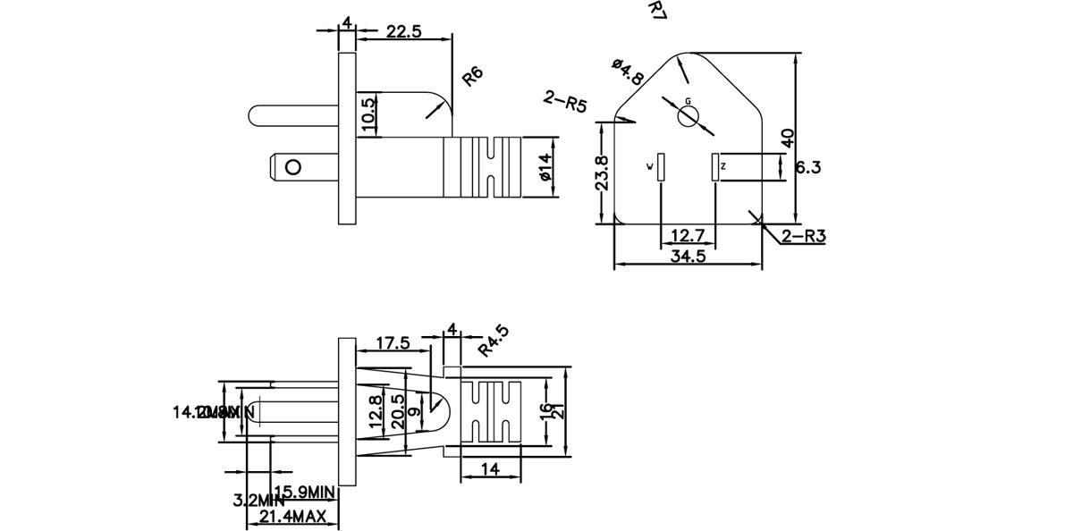 5-15P 15A 125V America Electronic Power Cord