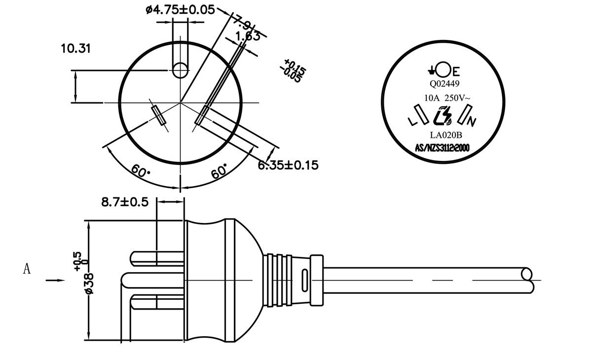 hight resolution of australia xh023a as nzs 3112 round pin plug