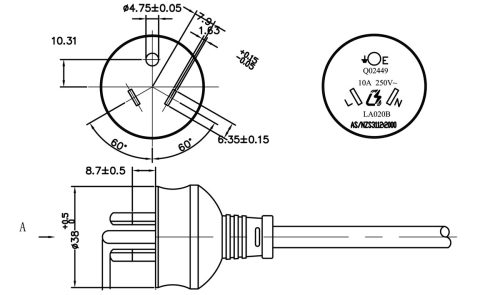 small resolution of australia xh023a as nzs 3112 round pin plug