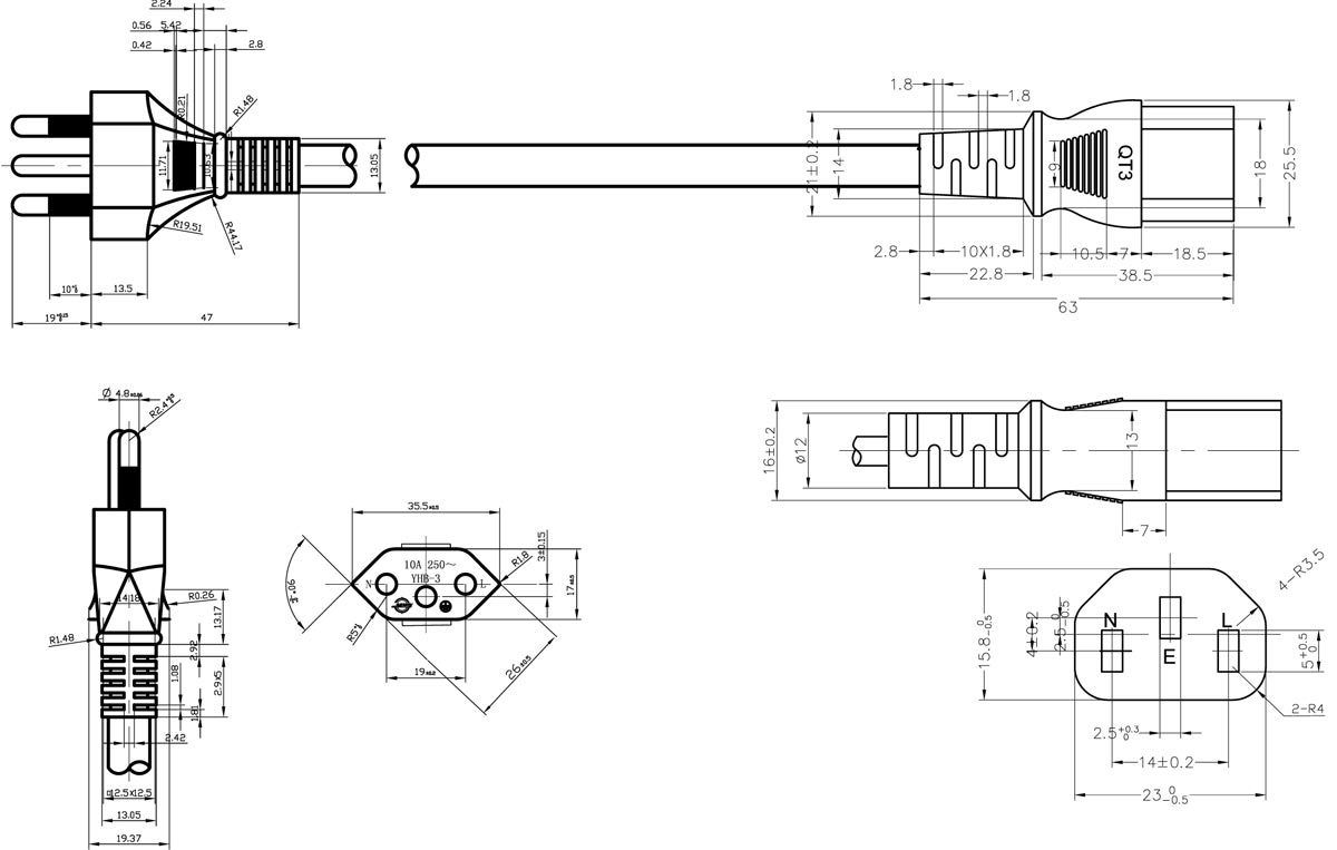 Brazil 14136 Plug to IEC 60320 C13 AC Power Cable