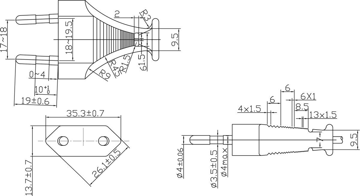 Europe CEE 7/16 Europlug 2.5A 2-pole Without Earthing