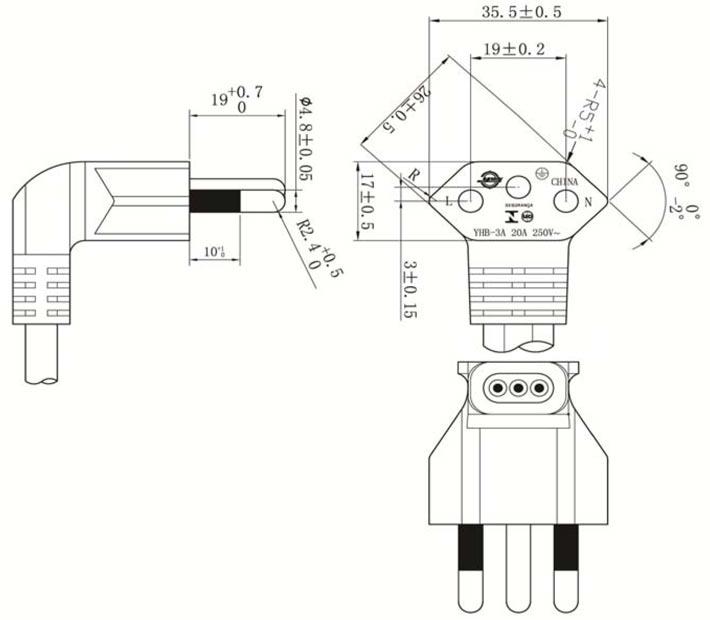 Brazilian Right (Left) Angle Plug Max 20A Power Cord