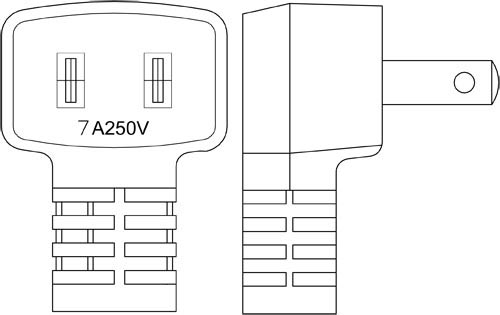Japan JIS 8303 PSE JET 2 Prong Right Angle Plug Power Cable