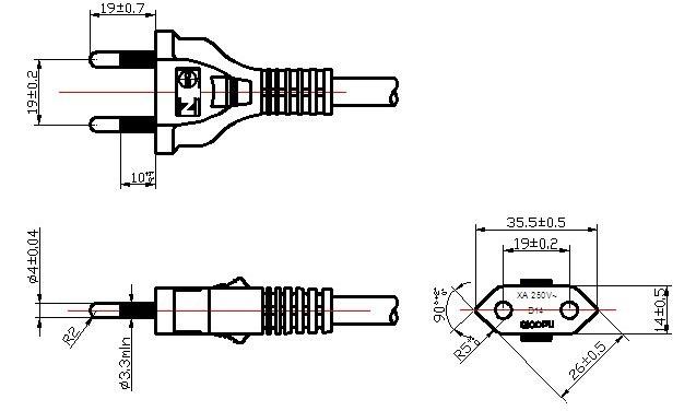 2 Pin Brazilian NBR 6147 Non-ground Plug Power Cord