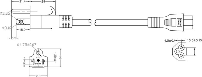 NEMA 5-15P Plug to IEC 60320 C5 Laptop Power Cord