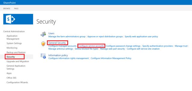 Configuration service accounts