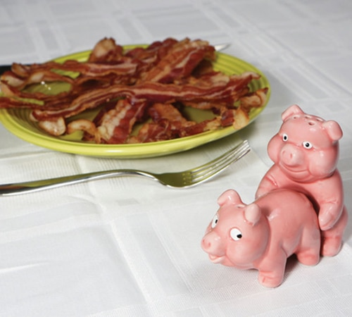 Salt and Pepper Shakers Making Bacon