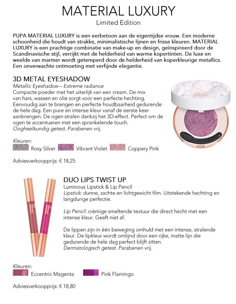 Persbericht, Pupa, Milano, luxury, material, limited, Edition, Scandinavië, Italiaans, care, cosmetics, voorjaar, 2018, beauty, blogger