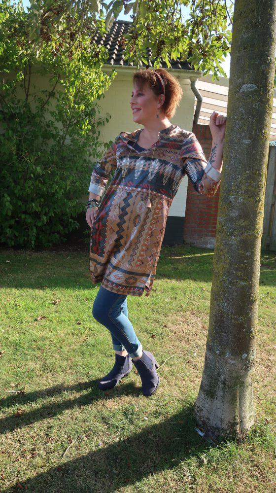 Zomerjurkje, etnisch, print, broek, trend, expresso, glans, goud, jeans, legging