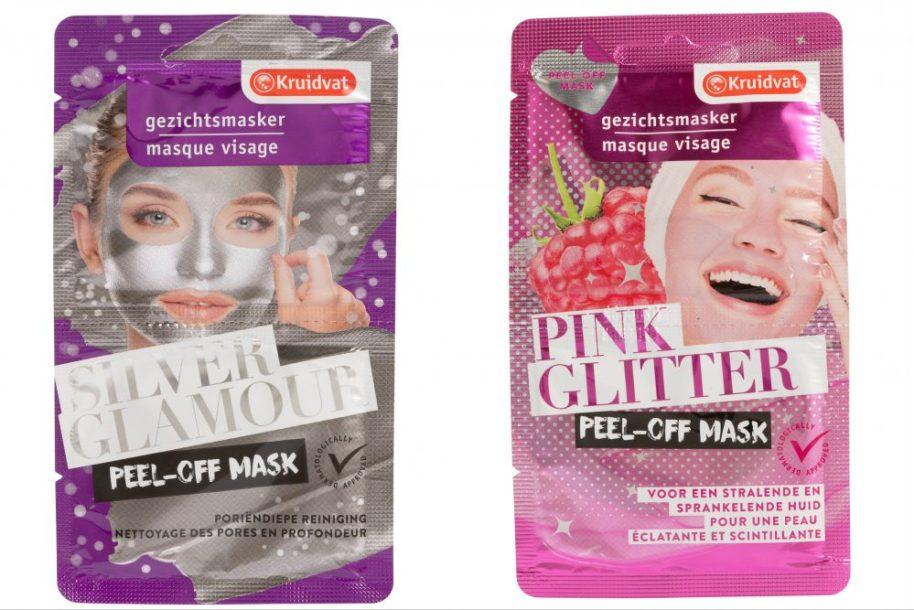 Peel-off, masker, Kruidvat, nieuw, pink, glitter, silver, glamour