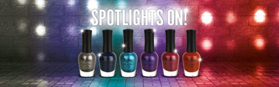 spotlight on, limited, edition, trind, cosmetics, nagellak, nagels, kleur, rood, blauw, paars, Hollywood Bling, Rolling Blue, dancing duke, groovy violet, , rockstar ruby, devil casanova