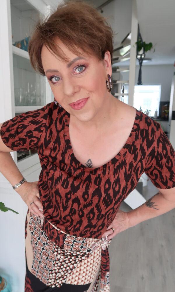 Tramontana, rok, shirt, mode, 50, plusser, fashion, blog, look, beauty, print, bruin, animal, beautysome, yustsome, 10