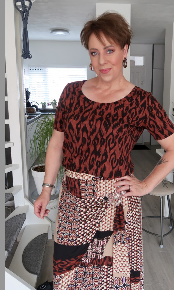 Tramontana, rok, shirt, mode, 50, plusser, fashion, blog, look, beauty, print, bruin, animal, beautysome, yustsome, 5